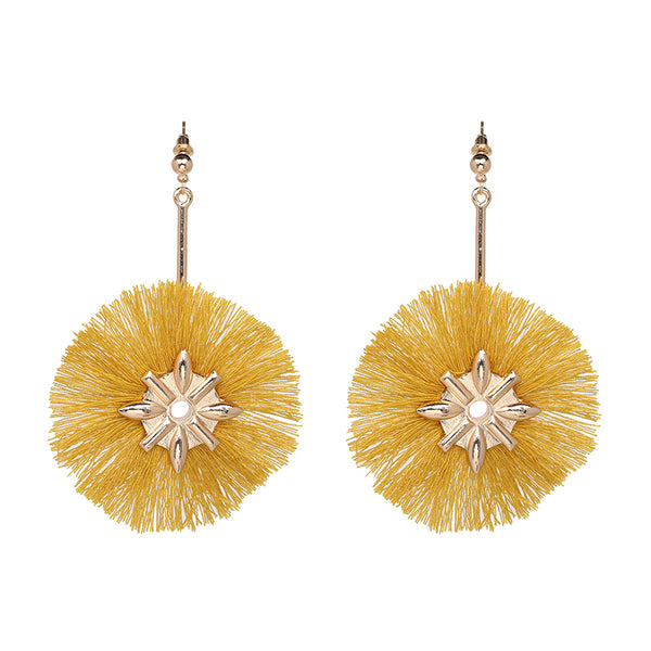 Fringe Tassel Design Earrings- Mustard Yellow - Katy's Princess Boutique