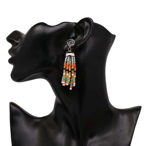 Beaded Tassel Rhinestone Earrings- Multi Color - Katy's Princess Boutique