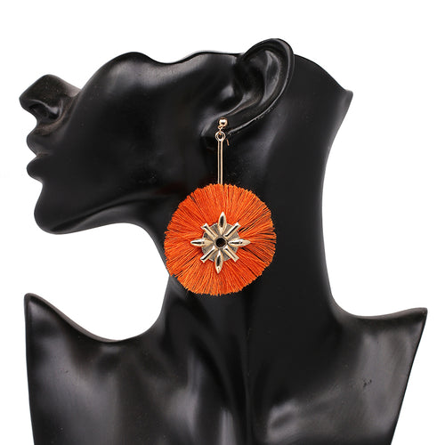 Fringe Tassel Design Earrings- Orange - Katy's Princess Boutique