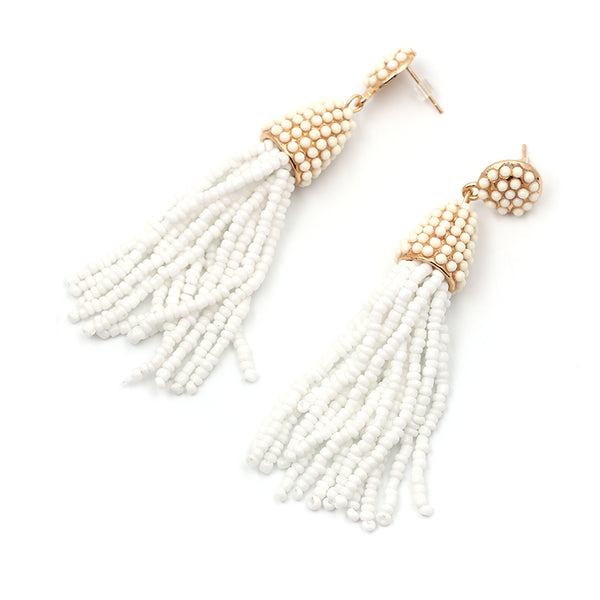 Beaded 2 Tier Tassel Earrings- White - Katy's Princess Boutique
