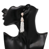 Beaded 2 Tier Tassel Earrings- White With Black Tips - Katy's Princess Boutique