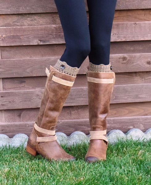 Knitted Button Boot Cuffs - 6 Color Options - Katy's Princess Boutique