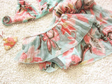 3 Pcs- Floral Bikini Skirt + Cover Swimsuit Set - Ready To Ship Available - Katy's Princess Boutique