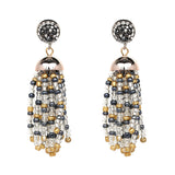 Beaded Tassel Rhinestone Earrings- Multi Color 2 - Katy's Princess Boutique