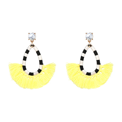 Fringe Tassel Stripped Earrings- Black & White Stripes, Yellow Color Fringe - Katy's Princess Boutique