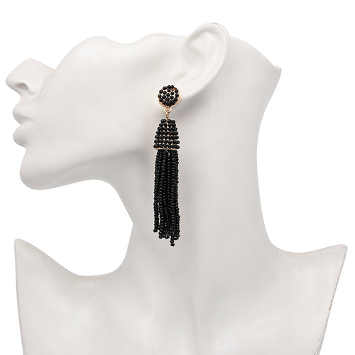 Beaded 2 Tier Tassel Earrings- Black - Katy's Princess Boutique