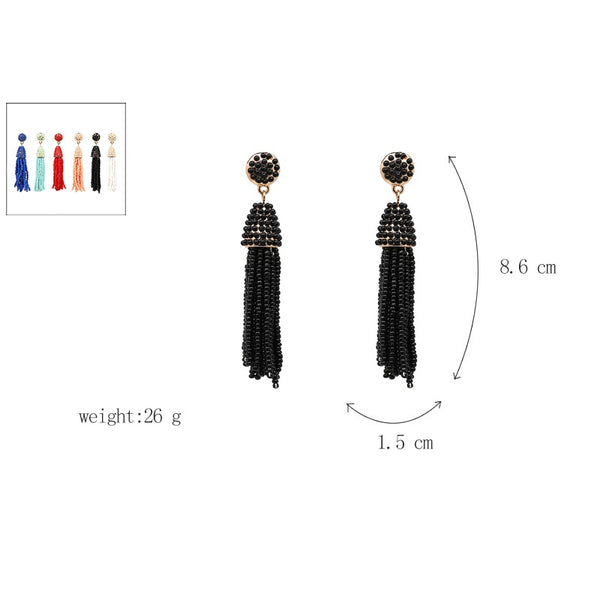 Beaded 2 Tier Tassel Earrings- Holographic - Katy's Princess Boutique