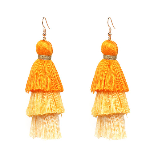 Fringe Tassel 3 Tier Earrings- Orange, Yellow, Light Yellow - Katy's Princess Boutique