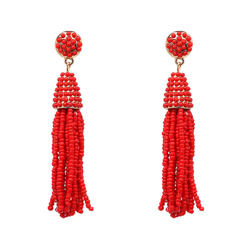 Beaded 2 Tier Tassel Earrings- Red - Katy's Princess Boutique