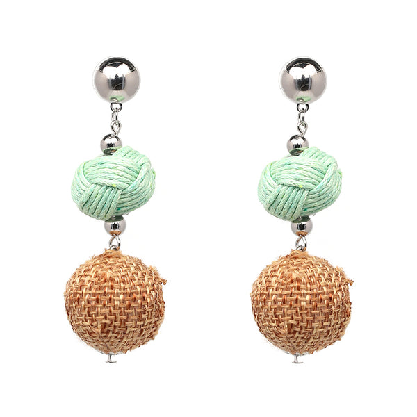 3 Tier Ball Earrings- Green, Brown - Katy's Princess Boutique