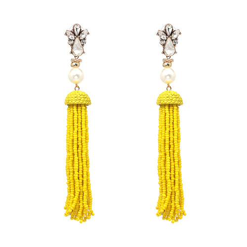 Beaded Pearl Rhinestone Tassel Earrings- Yellow - Katy's Princess Boutique