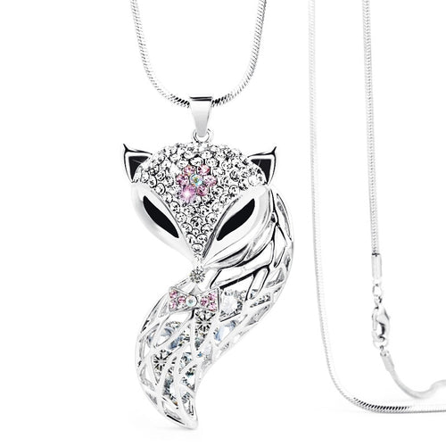 Ladies Fox Necklace- Silver- READY TO SHIP - Katy's Princess Boutique