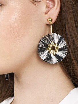 Fringe Tassel Design Earrings- Black & White - Katy's Princess Boutique