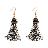 Beaded Tassel Earrings- Black, Gold, White - Katy's Princess Boutique