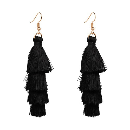 Fringe Tassel 4 Tier Earrings- Black - Katy's Princess Boutique