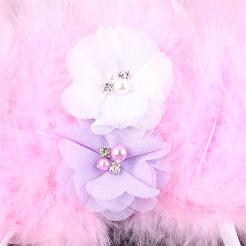 2 Piece Set- Pink Feather Angel Wings Photography Props + Headband Pearl Rhinestones Flowers- Ready To Ship Available - Katy's Princess Boutique