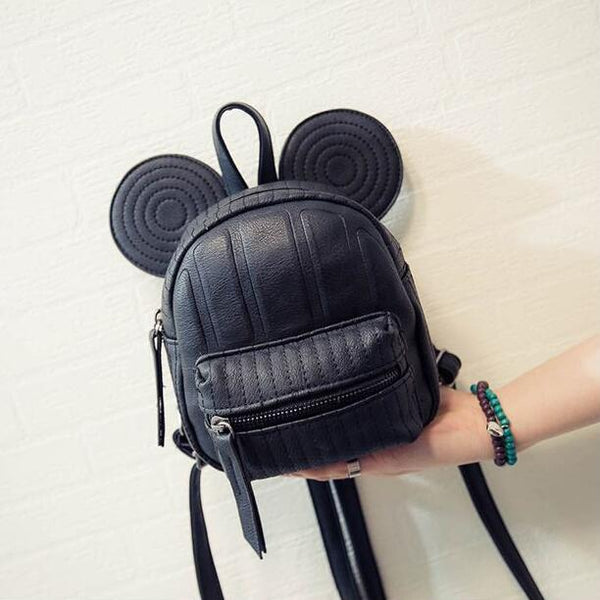 Disney Minnie Mickey Mouse Ears Mini Swirl & Medium Non-Swirl Backpack- Available In 3 Colors- Black, Pink, Or Beige- READY TO SHIP AVAILABLE