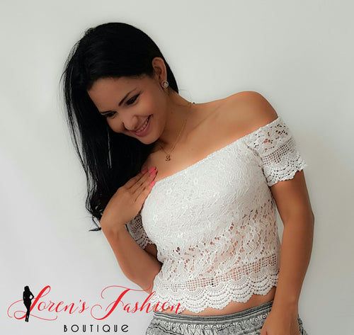 White Crotchet Lace Off Shoulder Top - Katy's Princess Boutique