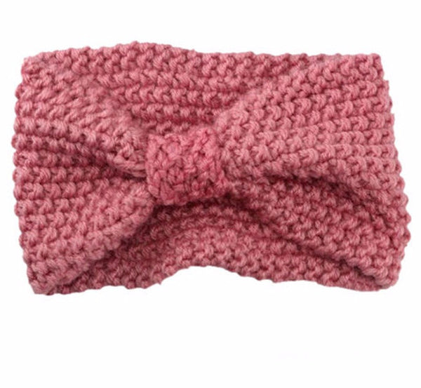 Knitted Bowknot Turban Head Wrap- Pink - Katy's Princess Boutique