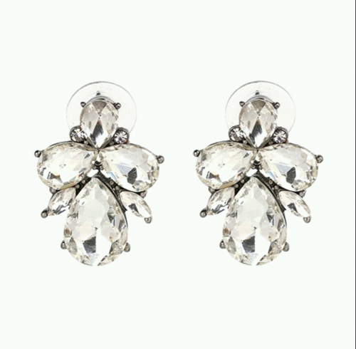 Statement Stud Earrings- Clear Diamond - Ready To Ship - Katy's Princess Boutique