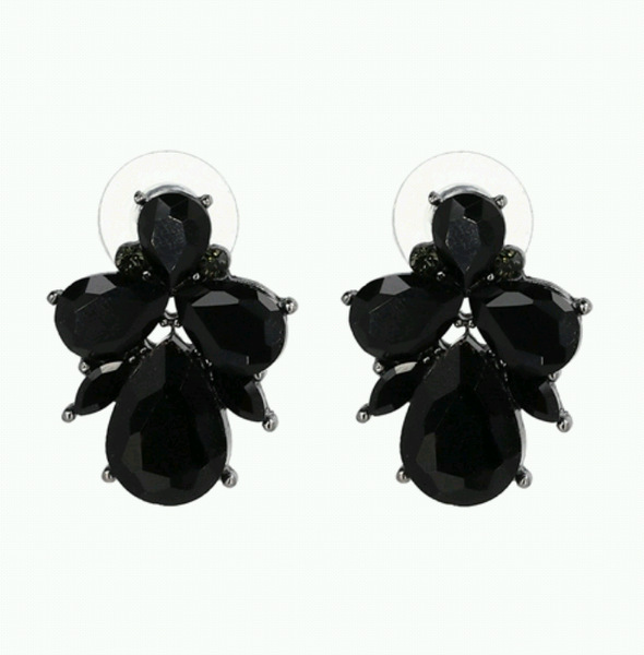 Statement Stud Earrings- Black - Ready To Ship - Katy's Princess Boutique