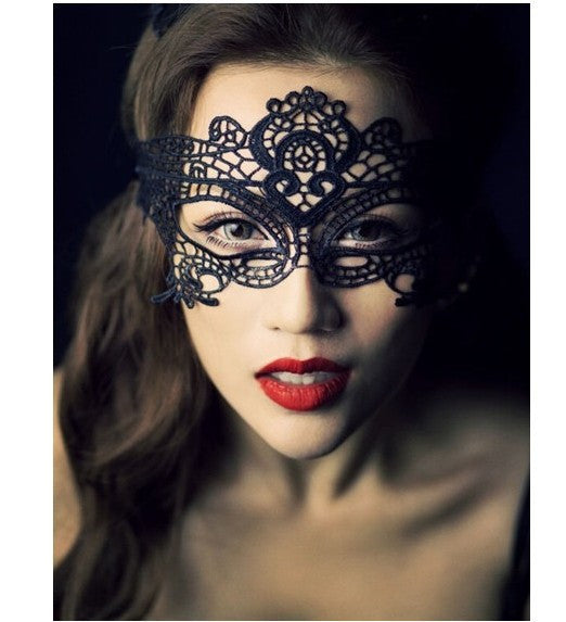 Lace Hollow Out Masquerade Mask -  Black - Katy's Princess Boutique