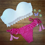MELANIE White & Pink Thong Swimsuit - Katy's Princess Boutique