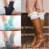 Knitted Lace Button Boot Cuff Leg Warmer - 6 Color Options - Katy's Princess Boutique