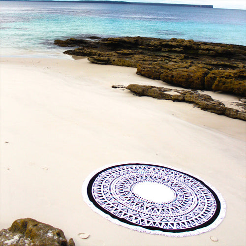 Black & White Trianglular Design Mandala Tassel Blanket - Katy's Princess Boutique