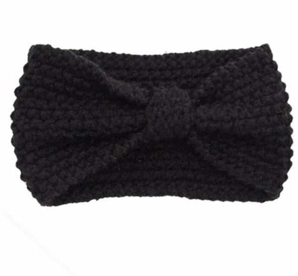 Knitted Bowknot Turban Head Wrap- Black ** - Katy's Princess Boutique