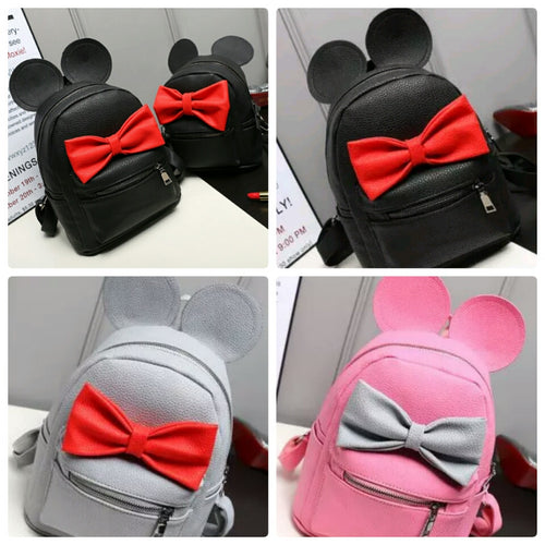 Mickey Minnie Mouse Ears Bow Medium Backpack- 3 Color Combinations -READY TO SHIP OPTION - Katy's Princess Boutique