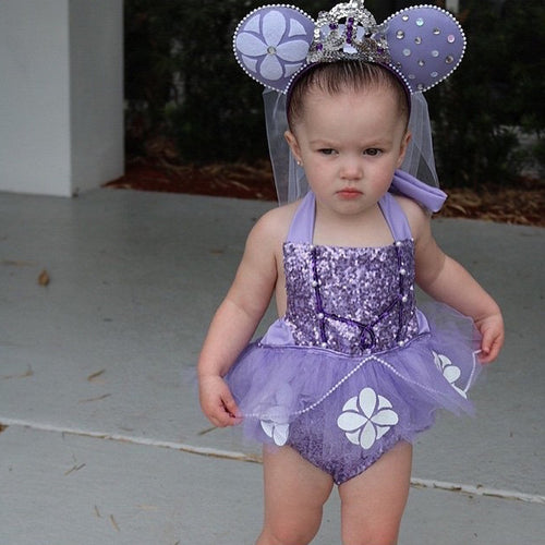 2 Piece Set- Disney Princess Sofia Purple Sequins Tutu Halter Romper Dress + Bow - Ready To Ship Available - Katy's Princess Boutique