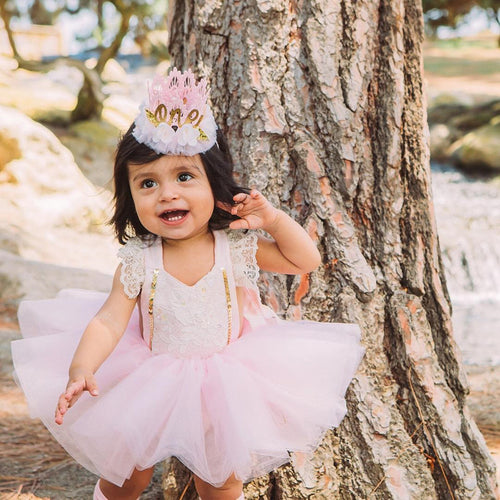 2 Piece Set- Pink Romper + Tutu Skirts Dress - Katy's Princess Boutique