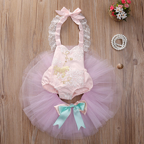 2 Piece Set- Pink Horse Romper + Tutu Skirt - Katy's Princess Boutique