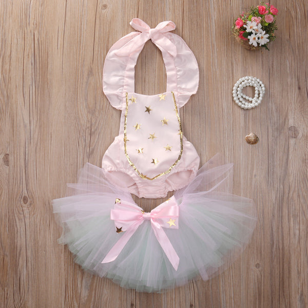2 Piece Set- Gold Star Pink Romper + Tutu Skirt - Katy's Princess Boutique