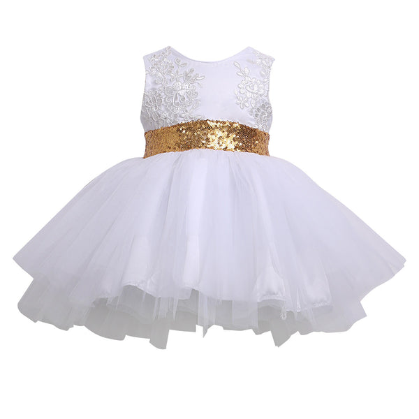 Sequins Bow Tutu Dress - White - Ready To ship Available - Katy's Princess Boutique