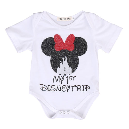 """My 1ST Disney Trip"" White Minnie Mouse Short Sleeve Romper Onsie- READY TO SHIP - Katy's Princess Boutique"