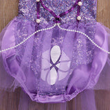 2 Piece Set- Princess Purple Sequins Tutu Halter Romper Dress + Bow - Ready To Ship Available - Katy's Princess Boutique