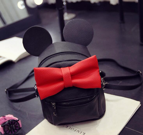 Minnie Mickey Mouse Ears Bow Mini Backpack Bag- Available In 12 Color Combinations-READY TO SHIP OPTION AVAILABLE - Katy's Princess Boutique