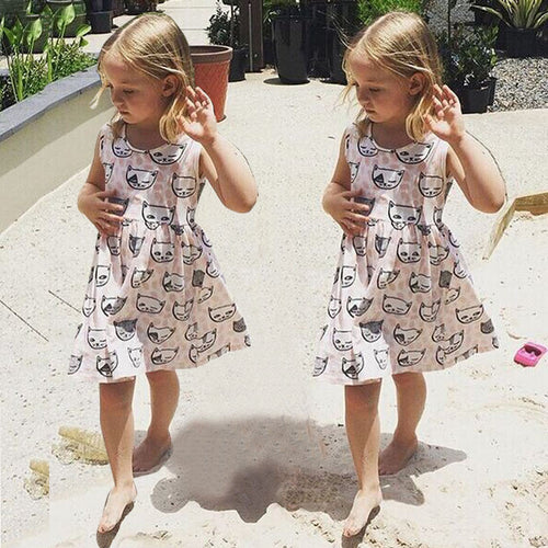 Cat Print Dress - Katy's Princess Boutique