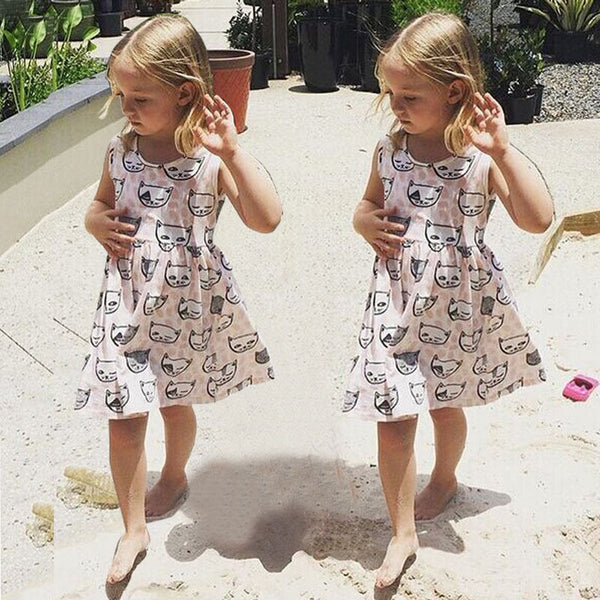 Cat Print Dress- READY TO SHIP OPTION AVAILABLE - Katy's Princess Boutique