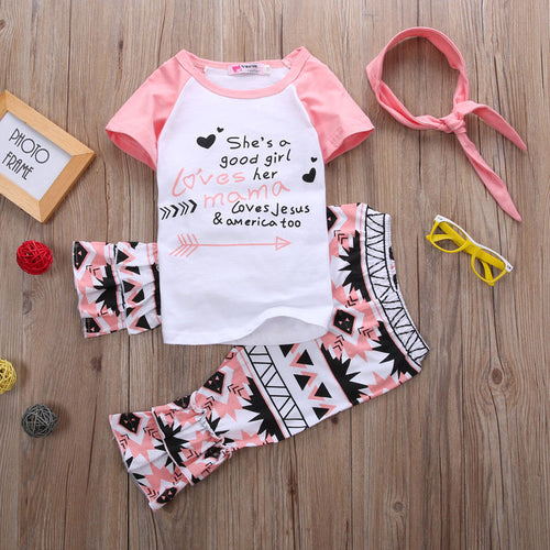 "2 Piece Set- ""She's A Good Girl Loves Her Mama Loves Jesus & America Too"" Pink & White Top Shirt + Aztec Design Ruffle Pants - Katy's Princess Boutique"