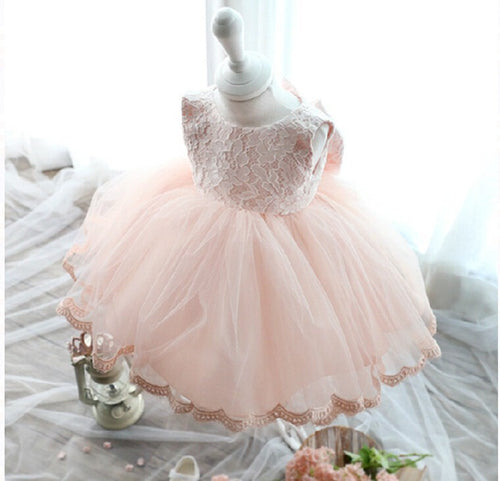 Pink Formal Tutu Bow Flower Lace Dress- Ready To Ship Available - Katy's Princess Boutique