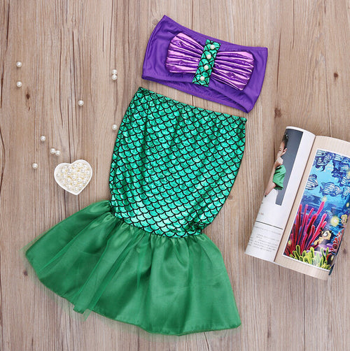 2 Piece Set- Disney Princess The Little Mermaid Tail Bow Bikinis Set Swimsuit - Ready To Ship Available - Katy's Princess Boutique