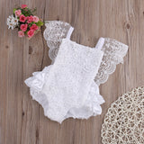 Lace Floral Ruffle Romper- White - Katy's Princess Boutique