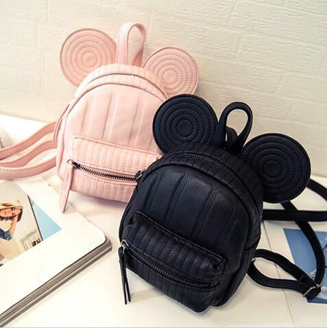 Minnie Mickey Mouse Ears Mini Swirl & Medium Non-Swirl Backpack- Available In 3 Colors- Black, Pink, Or Beige- READY TO SHIP AVAILABLE - Katy's Princess Boutique