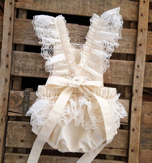 Beige Lace Ruffle Bow Romper - Katy's Princess Boutique