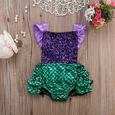 Princess Mermaid Sequin Romper - Katy's Princess Boutique