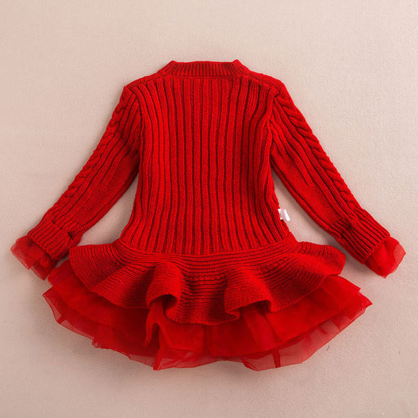 Knitted Chiffon Dress - Red - Katy's Princess Boutique