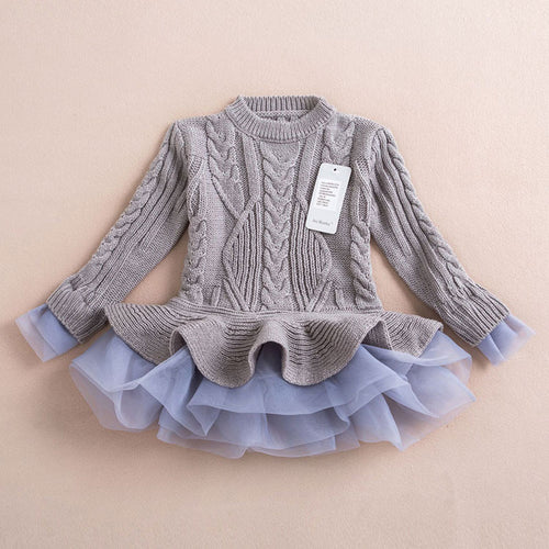 Knitted Chiffon Dress- Grey - Katy's Princess Boutique
